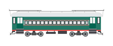 Railway train car, wagon of subway or metro. Passengers transportation in suburban transport, railroad tourist service, travel and trips. Flat isolated vector illustration 向量圖像