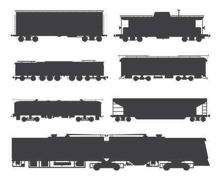 Railway cargo and passenger train silhouettes set, flat vector illustration isolated on white background. Black contours collection of railroad locomotive transport. 向量圖像