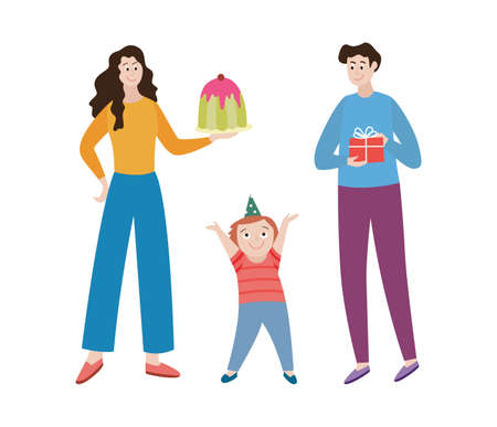 Cute family life moments. Happy mother and father celebrating the birthday of a kid. Family fun birthday party with cake and gifts. Flat cartoon isolated vector illustration