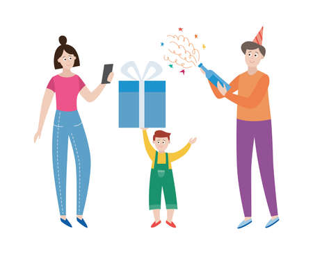 Little boy holding present gift and parents celebrating birthday together. Birthday party for kids, flat cartoon vector illustration isolated white background