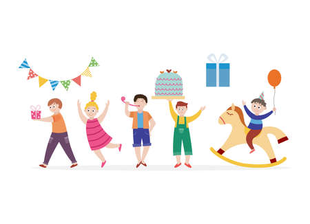 Set of happy children cartoon characters celebrating birthday party, flat cartoon vector illustration isolated on white background. Funny kids in festive hats. 向量圖像