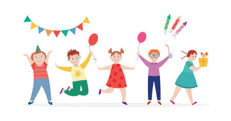 Happy group of children having fun at birthday party, flat cartoon vector illustration isolated on white background. Funny cartoon characters of kids at birthday party.