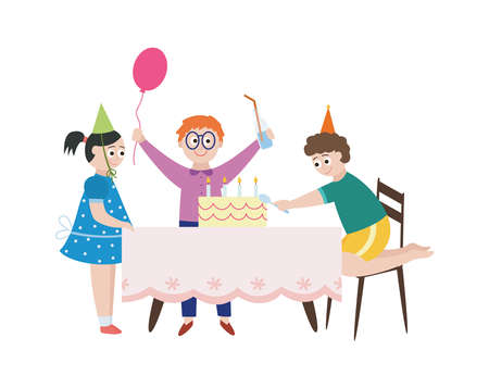 Cartoon characters of children celebrating birthday party and eating festive cake, flat vector illustration isolated on white background. Kids feast celebration.