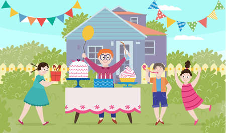 Banner of children celebrating a birthday in the backyard outdoors. Birthday party with cake, gifts and decorations. Kids play and have fun. Vector flat cartoon illustration 向量圖像