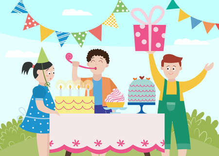 Kids birthday party scene with happy children getting gifts and treats, flat vector illustration. Cartoon boys and girls characters celebrating birthday.