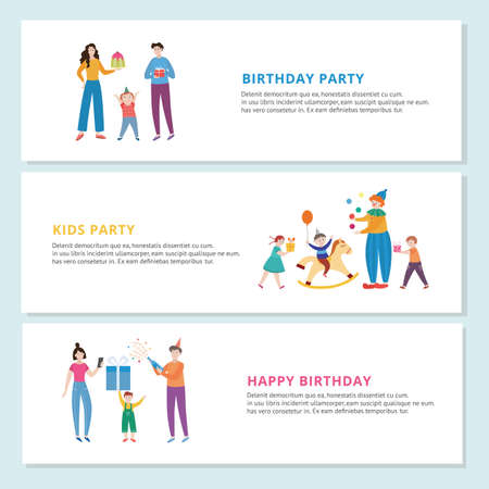 Design of greeting banners with celebration kids birthday party with clown, gifts, cake and funny games. Happy cartoon characters children and parents. Vector flat illustrations 向量圖像