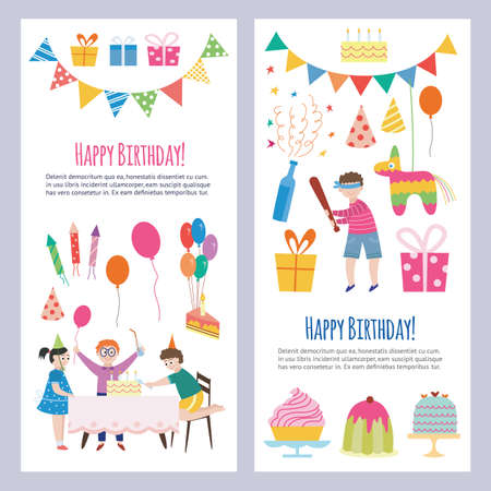 Design of greeting cards with a set of cartoon characters of children on celebration birthday party. Happy kids with gifts, sweets, confetti, balloons and toys. Vector illustration