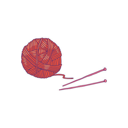 Ball of yarn for knitting and needles in sketch cartoon style vector illustration isolated on white background. Sign or symbol of knitting hobby and handcrafting.