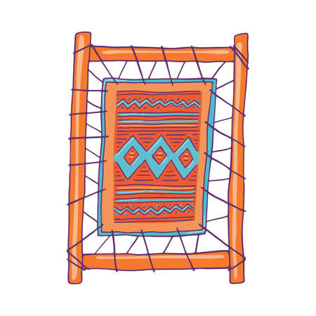Loom frame icon with woven fabric or carpet, sketch cartoon vector illustration isolated on white background. Symbol of traditional weaving technology.