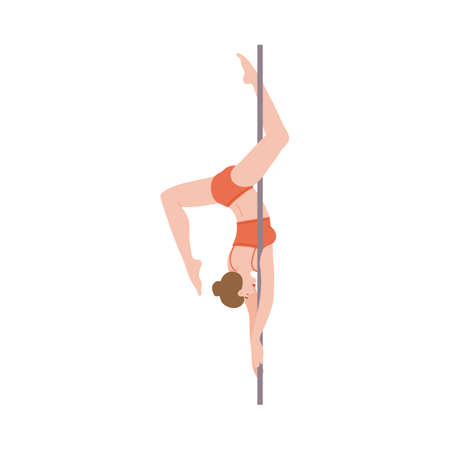 Isolated pole dance icon. Beautiful flexible girl dancer dancing at the pole. A young woman is engaged in sports or fitness. Flat cartoon vector illustration on a white background Illusztráció