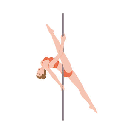 Pole dance girl. Beautiful flexible sportswoman dancing at the pole. Young woman is engaged in sports or fitness in club or studio. Flat isolated vector illustration