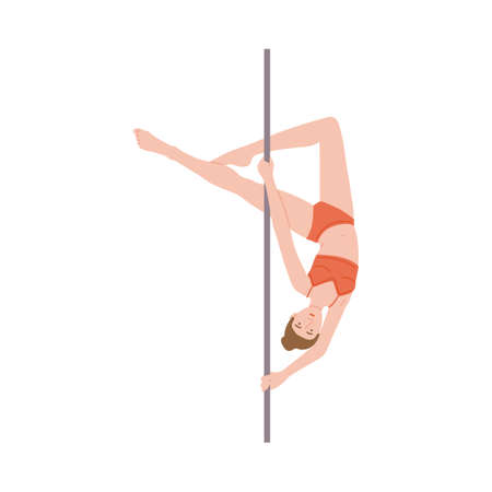 Pole dance icon. Beautiful flexible girl dancer posing at the pole engaged in sports or fitness. Flat cartoon vector illustration isolated on a white background Illusztráció