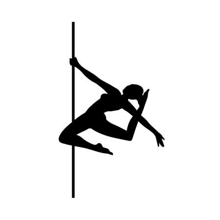 Pole dance girl black silhouette performance. Attractive female dancing and posing in club or dance school, flat cartoon vector illustration isolated white background Illusztráció