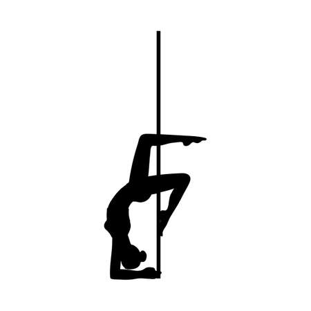 Black silhouette of a beautiful flexible girl dancing on a pole. Pole dance logo for fitness, party or club. Vector illustration isolated on a white background.