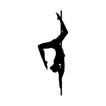Black silhouette or contour of gymnast pole dancer woman, flat vector illustration isolated on white background. Acrobatic dance with pole emblem element.