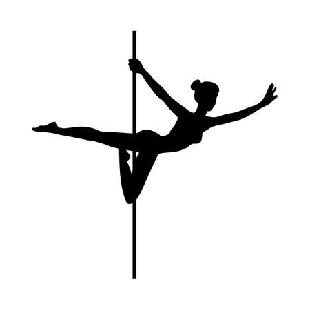 Silhouette of slim beautiful woman dancing on pole, flat vector illustration isolated on white background. Black outline shape of pole or pillar dancer female body.