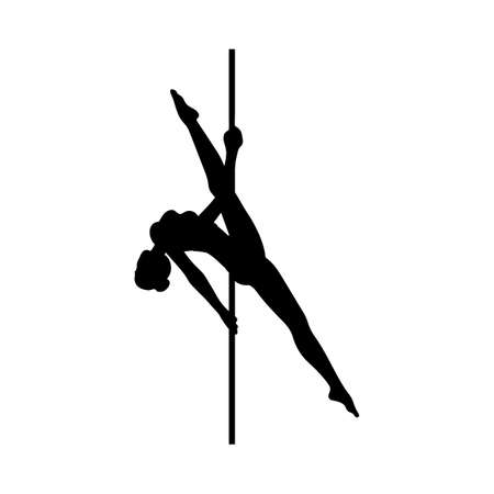 Silhouette of a beautiful flexible girl dancing on a pole. Black logo of pole dance for fitness, party or club. Vector illustration isolated on a white background.