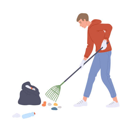 Volunteer man cartoon character rakes trash into the litter bag, flat vector illustration isolated on white background. Volunteer cleaning public place or park.