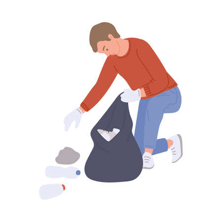 Man swapping trash into a rubbish bag, flat vector illustration isolated on white background. Person busy cleaning a park or garden, volunteering to put city in order. Illusztráció