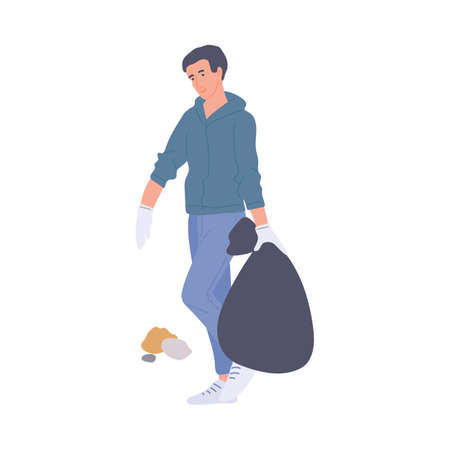 Man carrying full trash bag, flat vector illustration isolated on white background. Person busy cleaning a park or garden, volunteering to make city space clean. Illusztráció