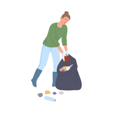Female volunteer collects garbage in bag to clean parks and public places, flat vector illustration isolated on white background. Volunteer initiative to clean up parks.