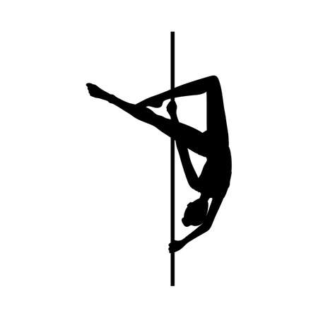 Black silhouette of woman dancing with pole vector illustration isolated on white background. Monochrome contour of acrobatic dance with pillar performer.