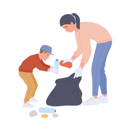 Volunteers mother and child collecting trash into litter bag, flat vector illustration isolated on white background. Volunteering cleaning of parks and woodlands. Illusztráció
