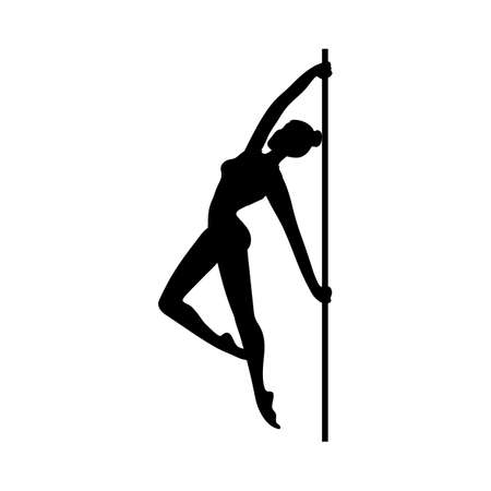 Black silhouette of a beautiful female pole dancer. Logo or icon for fitness, party or club. Vector illustration isolated on a white background.
