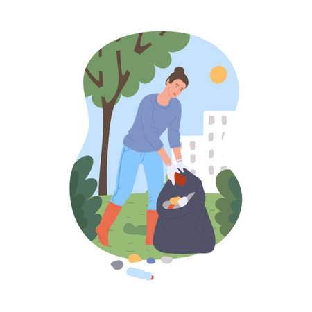 Woman cartoon character collects trash in a big litter bag, flat vector illustration isolated on white background. Volunteer helps to clean public park.