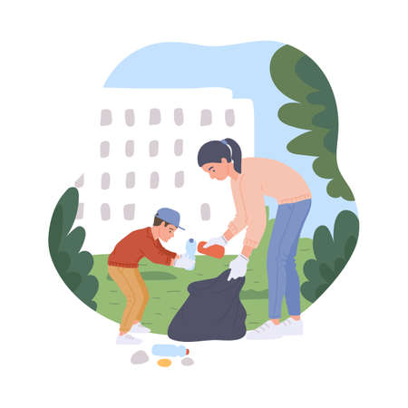 Mother and child cleaning public place or park and collect trash in a litter bags, flat vector illustration isolated on white background. Volunteering and social job.