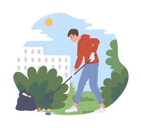 Man cleaning city park collecting and deleting rubbish. Volunteer taking care of nature and city environment, flat cartoon vector illustration white background