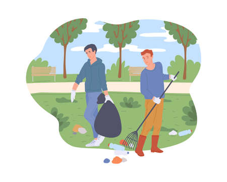 People cleaning city green park from trash. Active volunteers help environment collecting rubbish in bag, flat cartoon vector illustration white background