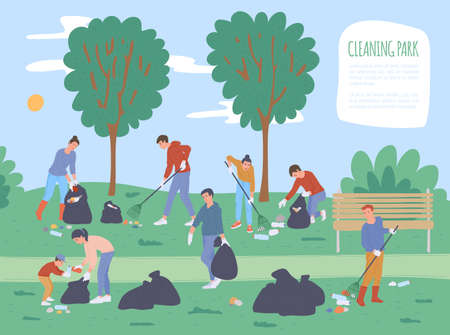 Poster background for volunteer social event of cleaning public park with cartoon people collecting trash and rubbish in litter bags, flat vector illustration.