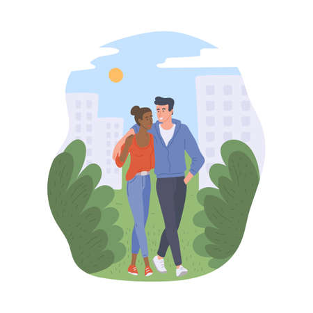 Cute couple walking in city park in nature outdoors. Man and woman spending time together with love, flat cartoon vector illustration white background