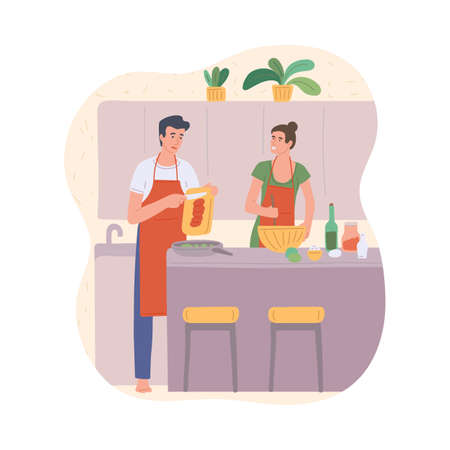 A couple of husband and wife cook the food together in the kitchen. Family bonding, togetherness and relationships. Flat cartoon vector illustration.