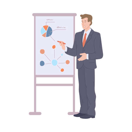 Businessman in office suit and red tie presenting financial report and statistics of company, flat cartoon vector illustration isolated white background