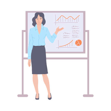 Business woman cartoon character leading presentation or training for company staff, flat vector illustration isolated on white background. Business lecturer or coach.