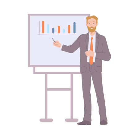 Businessman in business suit shows project, business plan, work report or doing professional training. Presentation with graphs on business meeting. Flat vector isolated illustration