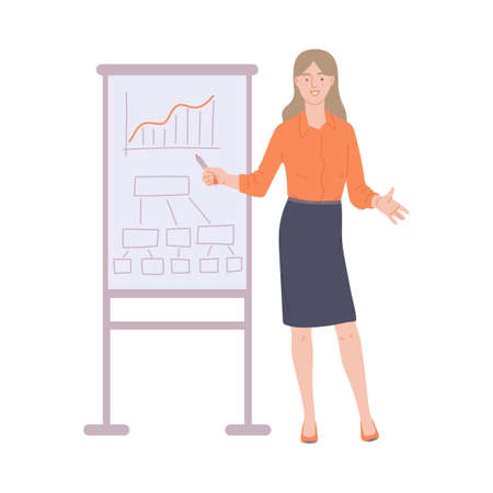 Business woman giving sales or feedback presentation, flat vector illustration isolated on white background. Woman in office clothing standing near presentation board.