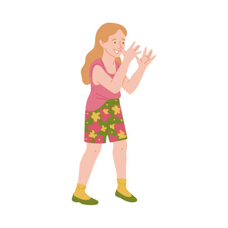 Cheeky naughty little girl smiling and showing bullying gesture, flat vector illustration isolated on white background. Rude ill-mannered child cartoon character.