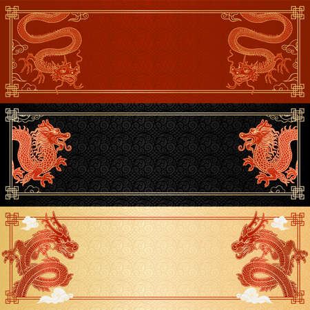 Set of horizontal colorful banners or flyers with printed traditional chinese dragons and ethnic historic ornament backgrounds, cartoon vector illustration 矢量图像