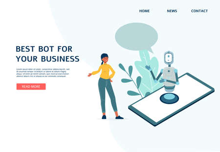 Chatbot website banner template for company offering virtual robot assistance for business, flat vector illustration. Artificial intelligence bot helps the client.