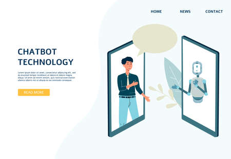 Chatbot technology website banner template with cartoon characters of man and robot android, flat vector illustration. Computer virtual assistant program for users.