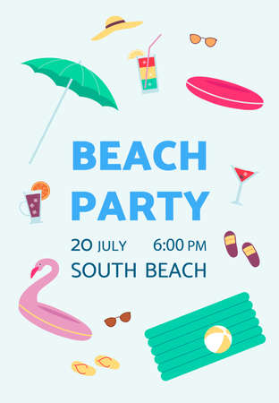Poster advertising a summer beach party with the date, place and time. Vacation or weekend on the beach by the sea or ocean. Vector flat illustration Ilustração
