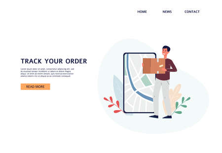 Tracking parcel services website page mockup with happy client getting his purchase, flat vector illustration. Landing page or site interface for track app.