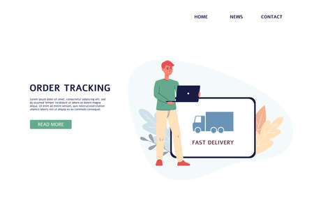 Website banner mockup for parcel tracking services with cartoon man tracking his mail shipment via electronic devices, flat vector illustration on white background.  イラスト・ベクター素材