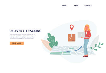 Delivery tracking web banner template with cheerful woman getting her parcel, flat vector illustration. Orders shipping and delivery tracking site interface.  イラスト・ベクター素材