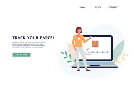 Track your parcel website header with woman character tracking her delivery with mobile and web apps, flat vector illustration. Template for website or landing page.  イラスト・ベクター素材