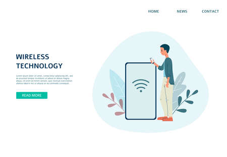 Concept of wireless WiFi technology. Man with mobile phone using router for remote connection device to internet. Flat vector illustration. Design of landing page template.  イラスト・ベクター素材