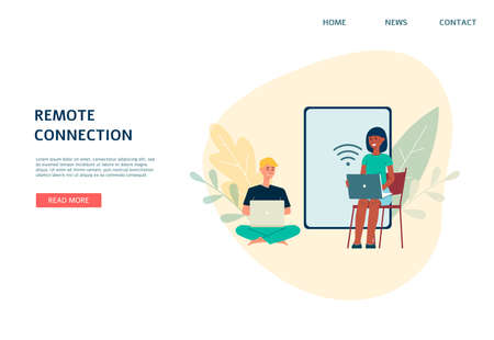 Remote connection and WiFi network technology concept of a web page with people using electronic devices, flat vector illustration on white background.  イラスト・ベクター素材
